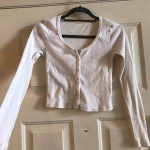 Tops - Long Sleeve Cropped Henley